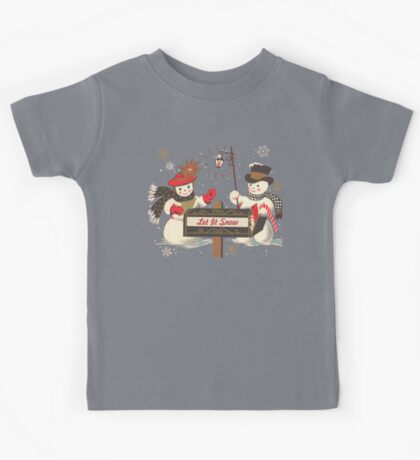 Old fashion Christmas Winter Let it snow cute Snowman  Kids Tee