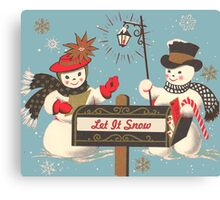 Old fashion Christmas Winter Let it snow cute Snowman  Canvas Print