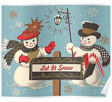 Old fashion Christmas Winter Let it snow cute Snowman  Poster
