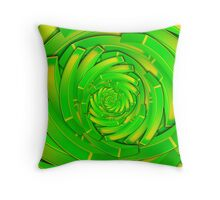 green and yellow block swirl vortex Throw Pillow