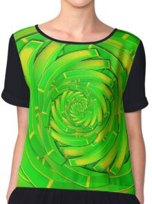 green and yellow block swirl vortex Chiffon Top