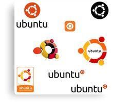 ubuntu linux stickers set Canvas Print