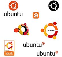 ubuntu linux stickers set Photographic Print