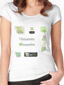 linux mint stickers set Women's Fitted Scoop T-Shirt