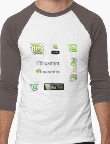 linux mint stickers set Men's Baseball ¾ T-Shirt