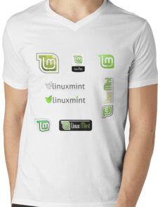 linux mint stickers set Mens V-Neck T-Shirt