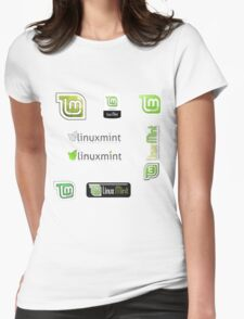 linux mint stickers set Womens Fitted T-Shirt