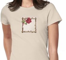 Vintage Rustic Red Roses Antique Flowers Womens Fitted T-Shirt