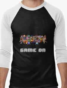 Game On! Video Game Crowd with Mario and Luigi Men's Baseball ¾ T-Shirt