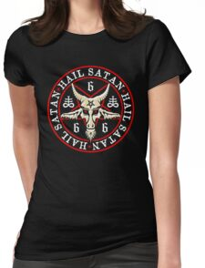 Hail Satan Baphomet in Occult Inverted Pentagram Womens Fitted T-Shirt