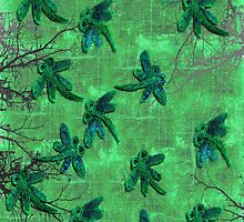 Dragonflies Green Forest by lyndseyart