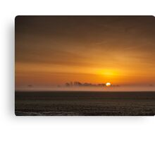 Misty sunrise over the Lincolnshire Fens Canvas Print