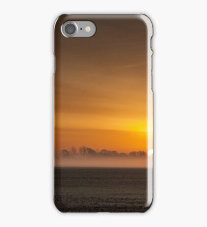 Misty sunrise over the Lincolnshire Fens iPhone Case/Skin