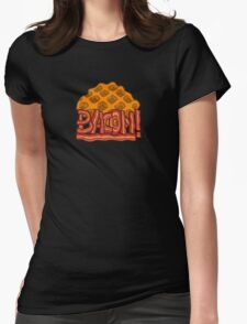 Waffle bacon logo Womens Fitted T-Shirt