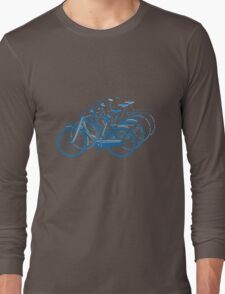 Blue motion bike a white background Long Sleeve T-Shirt