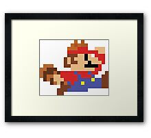 8bit Raccoon Mario Framed Print