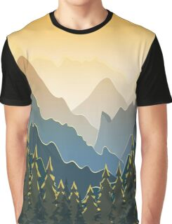 Blue mountains with forest on sunset Graphic T-Shirt
