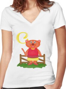 C is for Cat Women's Fitted V-Neck T-Shirt