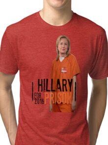 Funny Hillary For Prison '16 Democrat OITNB Orange Is The New Black Netflix Anti Hillary Clinton Piper Chapman Donald Trump Bernie Sanders Tri-blend T-Shirt