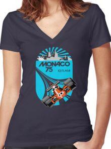 Monaco Grand Prix Poster Women's Fitted V-Neck T-Shirt