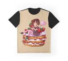 Strawberry Shortcake Watercolor Painting Graphic T-Shirt