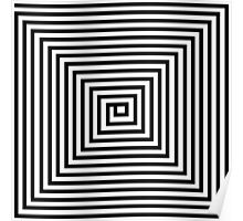 Black and White Square Spiral Poster