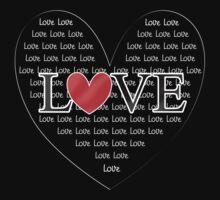 Cute Word Art Love Red Heart One Piece - Long Sleeve