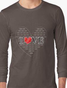 Cute Word Art Love Red Heart Long Sleeve T-Shirt