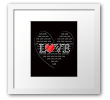 Cute Word Art Love Red Heart Framed Print