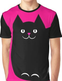 Pink and Black Cat Graphic T-Shirt