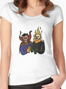 Doctor Strange & Ghost Rider Chilling Out Women's Fitted Scoop T-Shirt