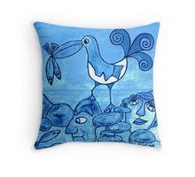 Goéland et poissons bleus Throw Pillow