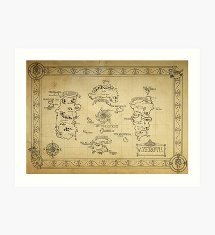 Azeroth map - old hand drawn Art Print