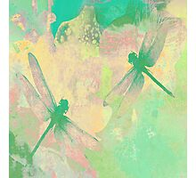 Green Painting Dragonflies Photographic Print