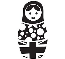 Russian Doll Black & White Photographic Print