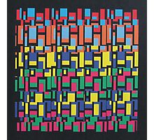 Abstract 80's Colourful Blocks Photographic Print