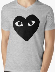 BLACK HEART WHITE EYES BALLERS Mens V-Neck T-Shirt