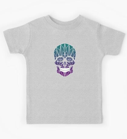 Low-poly neon smiley skull! Kids Tee