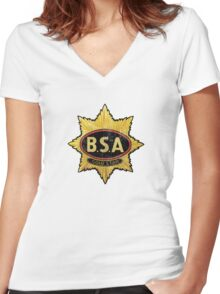 BSA vintage Motorcycle England Women's Fitted V-Neck T-Shirt