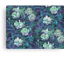 """White roses, blue leaves"" hand drawn floral pattern Canvas Print"