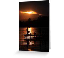 Fishing at dusk Greeting Card