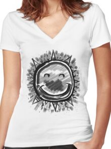 Happy Sun, Sumi Ink Painting Women's Fitted V-Neck T-Shirt