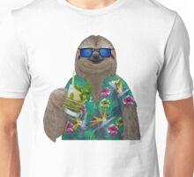 Sloth on summer holidays drinking a mojito Unisex T-Shirt