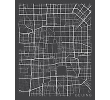 Beijing Map, China - Gray  Photographic Print