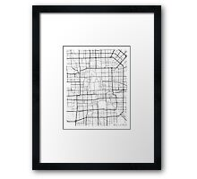 Beijing Map, China - Black and White Framed Print
