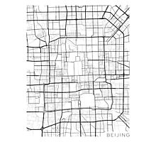 Beijing Map, China - Black and White Photographic Print