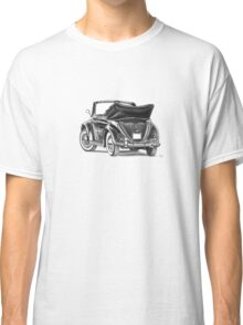 Volkswagen Beetle Type 1 Pencil Drawing Art Print Signed Classic T-Shirt