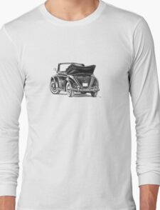 Volkswagen Beetle Type 1 Pencil Drawing Art Print Signed Long Sleeve T-Shirt