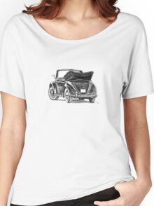 Volkswagen Beetle Type 1 Pencil Drawing Art Print Signed Women's Relaxed Fit T-Shirt