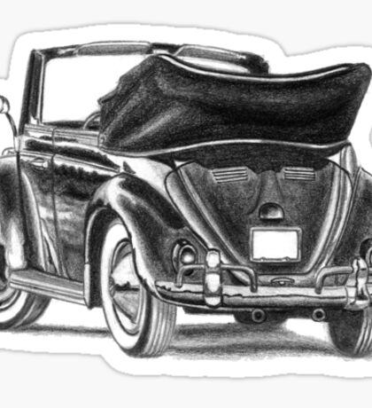 Volkswagen Beetle Type 1 Pencil Drawing Art Print Signed Sticker